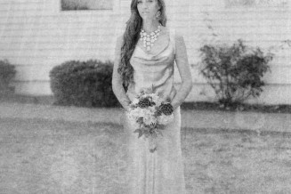 Black and white film bridal portrait of Melissa. A full length portrait by Briana Morrison.