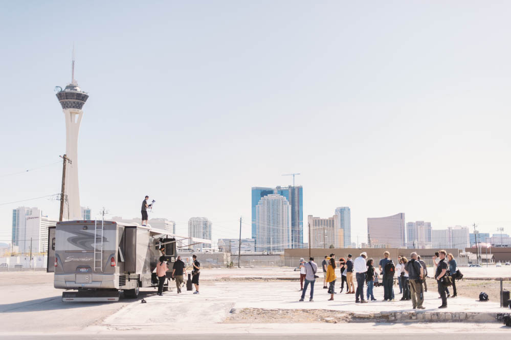 The set for day one of Film Season 2 - The cast and crew shooting for Post War Science in Las Vegas. Photography by Briana Morrison