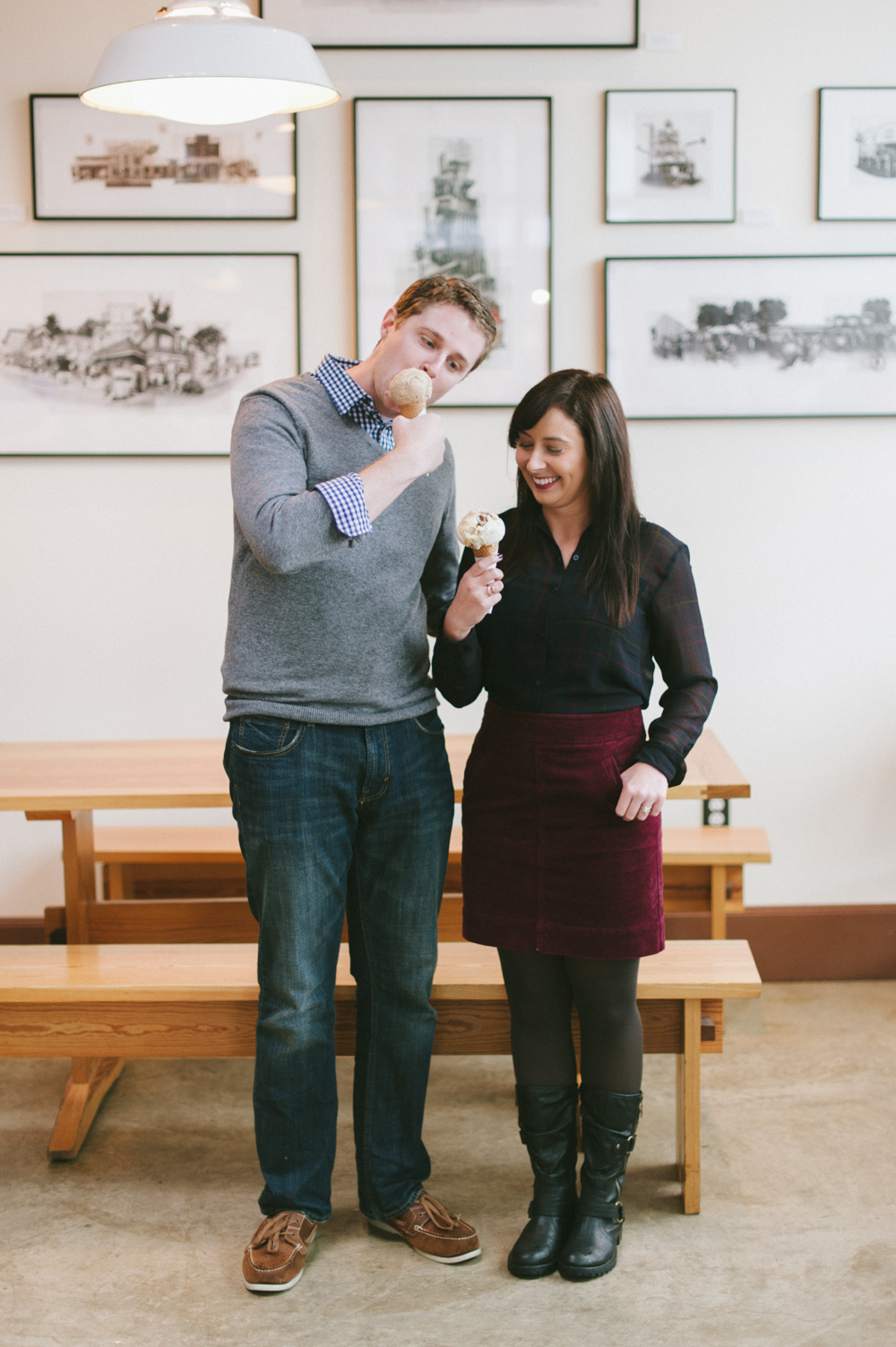 Experiencing the wonderful flavors at Salt N Straw during this Portland engagement session. Photography by Briana Morrison