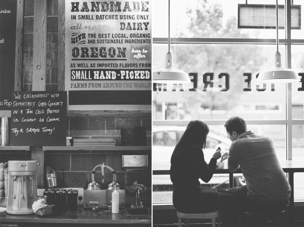 Handmade ice cream at Salt N Straw - A Portland engagement session by Briana Morrison