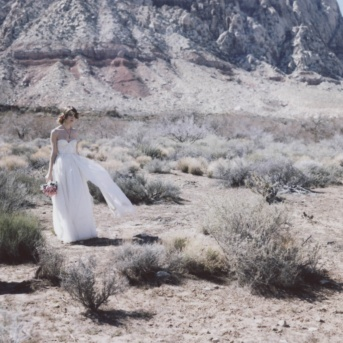 A beautiful bride in the Nevada desert. Captured by Portland Wedding Photographer Briana Morrison