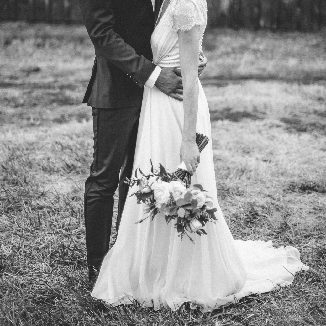 Cally & Guy in black and white by romantic wedding photographer Briana Morrison