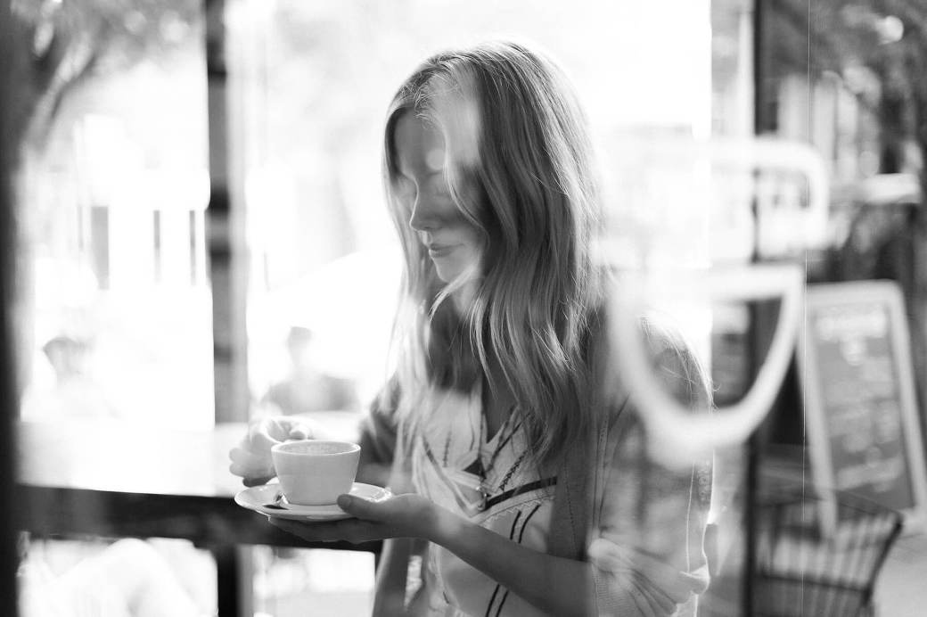 Claire Coffee sipping a drink at Barista in Portland, Oregon. Photo by Portland Portrait Photographer Briana Morrison