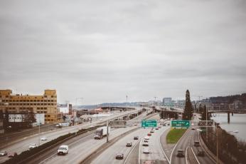 The freeway in Portland, Oregon - On a road trip.