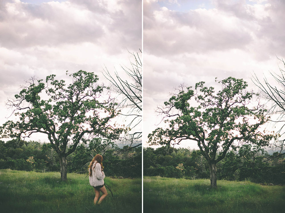 An old oak tree and a woman in a fur coat - An Outdoor Boudoir Session by Briana Morrison