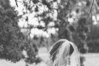 Larissa, a bride on her wedding day underneath an old Oak tree. A Northern California Wedding - By Redding wedding photographer Briana Morrison