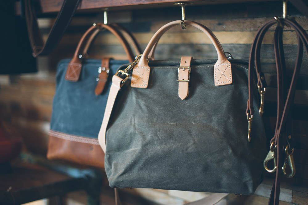 Beautiful waxed canvas bags at Beam & Anchor in Portland, OR - Photography by Briana Morrison