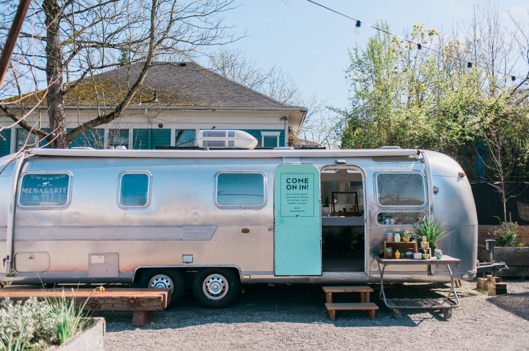 Menagerie, a Portland based jewelry and beauty product boutique in an Airstream trailer. Photography by Briana Morrison