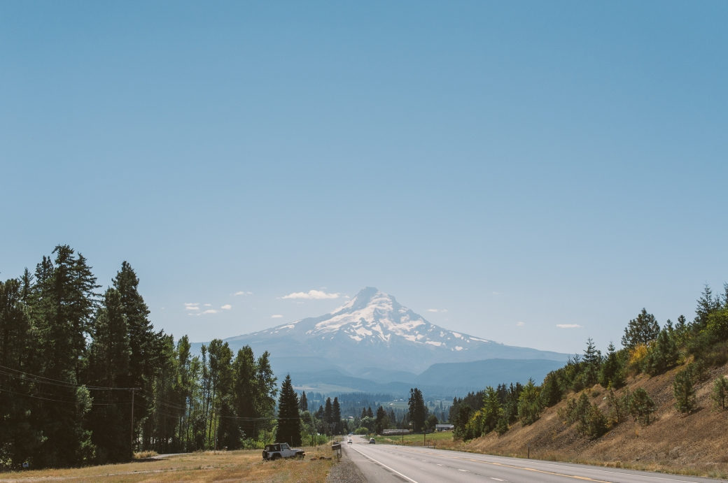 A view of Mt. Hood on a bright sunny day in Oregon