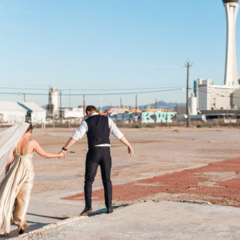 A beautiful bride and groom from London elope in Las Vegas, Nevada. Captured by Portland Wedding Photographer Briana Morrison