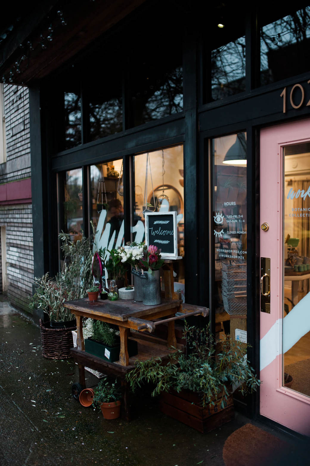 The front of Work/Shop PDX - A floral boutique and workshop space in Portland, Oregon. Photographed by Briana Morrison