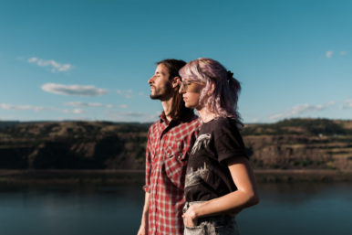Myles and Chris during a love session in the Columbia River Gorge. By Rowena Crest portrait photographer, Briana Morrison