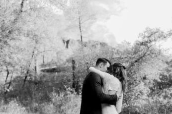 A bride and groom in black and white by west coast wedding photographer Briana Morrison