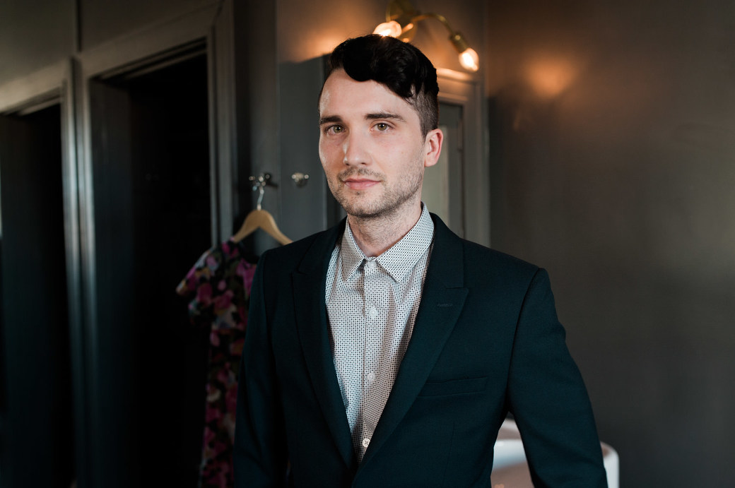 A dapper looking groom by Ace Hotel wedding photographer Briana Morrison