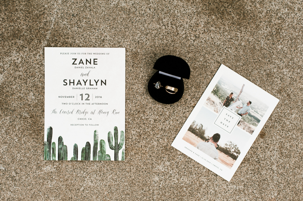 Beautiful wedding stationery and rings. By Chico Wedding Photographer Briana Morrison