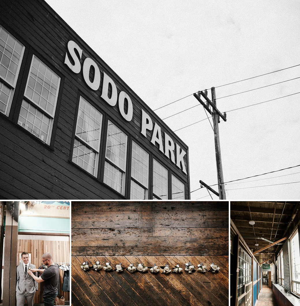 Wedding details and the groom getting ready at Sodo Park in Seattle. By Sodo Park wedding photographer Briana Morrison