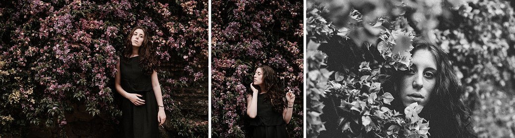 An Italian woman amongst flowers. By Rome portrait photographer Briana Morrison