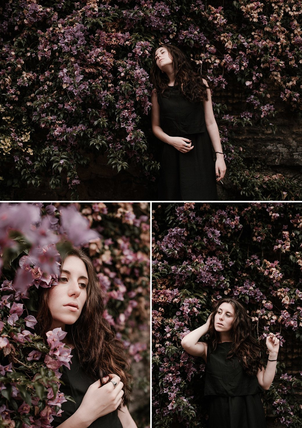 Portrait of an Italian woman with lavender flowers. By Rome portrait photographer Briana Morrison