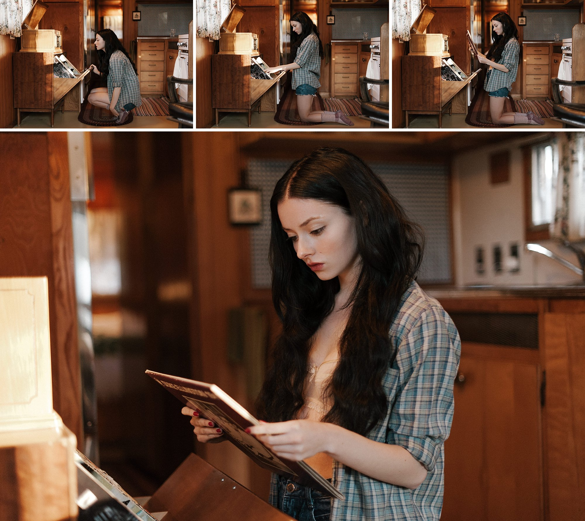 A young woman looks through records. By Seattle boudoir photographer Briana Morrison