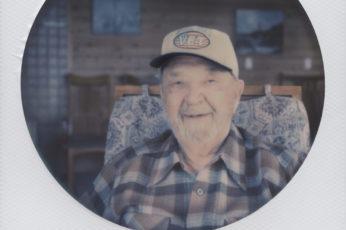 Robert Schoensee on his 99th birthday in Bodega Bay. Polaroid photograph by Briana Morrison