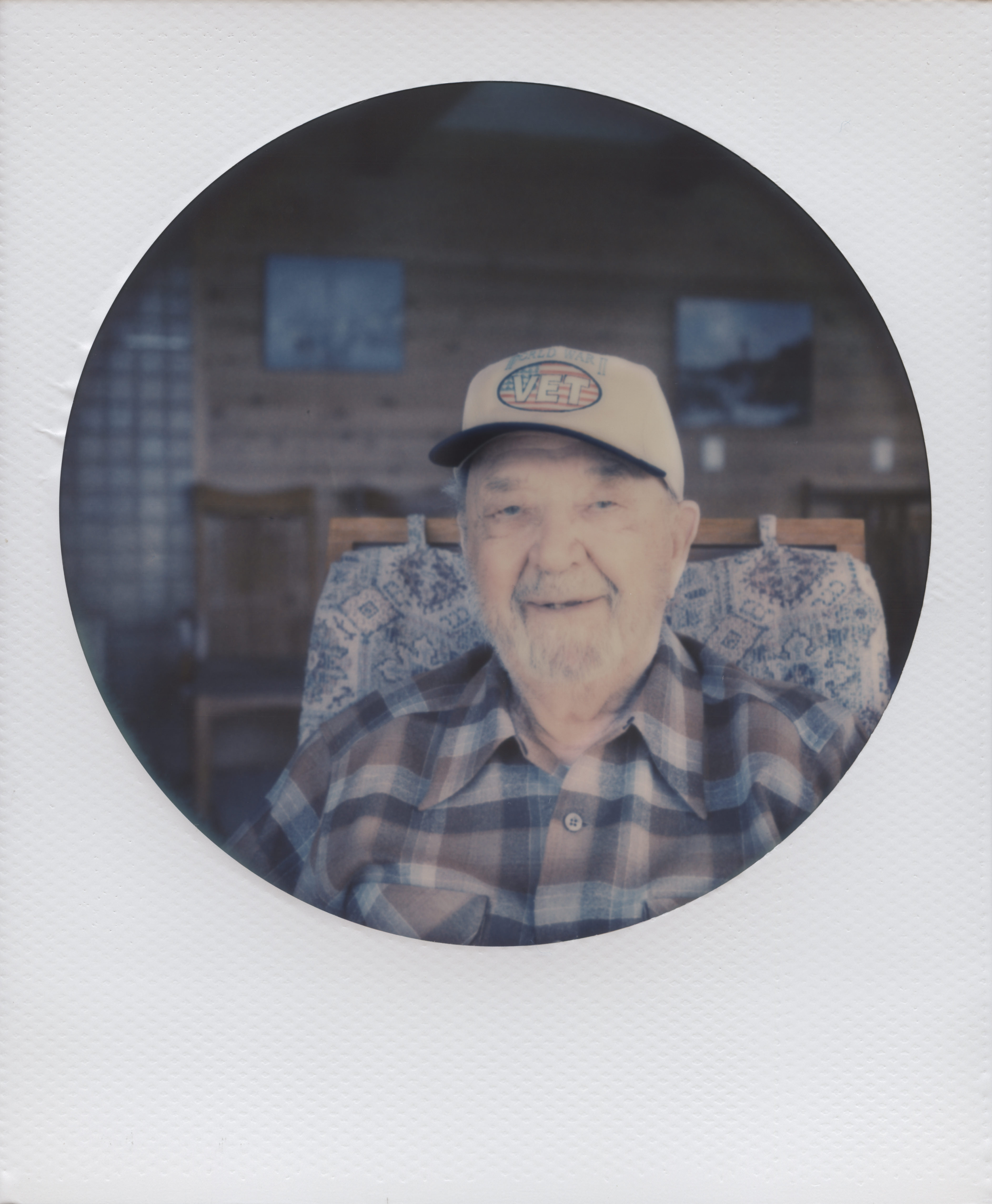 Robert Schoensee on his 99th birthday in Bodega Bay. Polaroid photograph by Briana Morrison